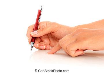 Pen in hand.