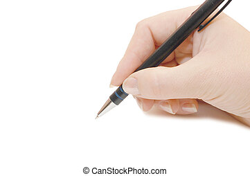 Pen in woman hand isolated on white background