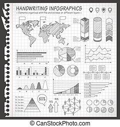 pen, infographics, aantekenboekje, zwart wit, getrokken