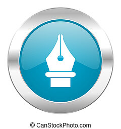 pen internet blue icon