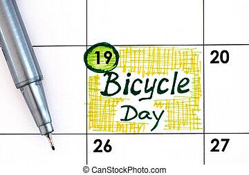 pen., jour, vélo, rappel, calendrier