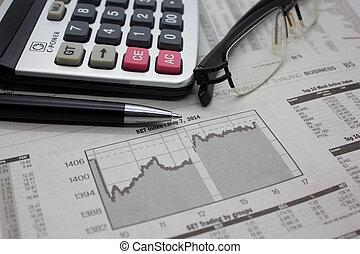 pen., kalkulator, tło, handlowy