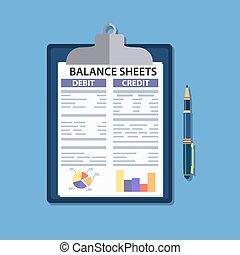 pen., klembord, blad, evenwicht