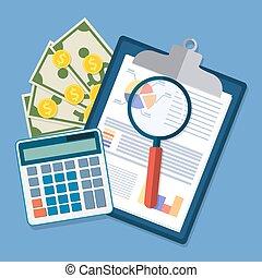 pen., klemmbrett, finanziell, berichte