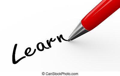 pen, leren, 3d, schrijvende