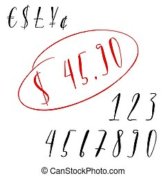 Pen lettering numbers and symbols