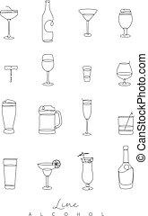 Pen line alcohol icons