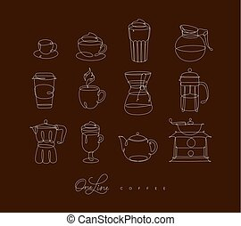 Pen line coffee icons brown