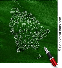 Pen line drawing christmas tree toy bell green