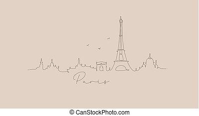 Pen line silhouette paris beige