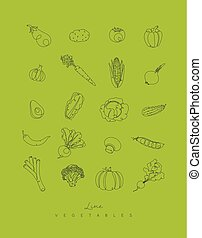 Pen line vegetables icons green