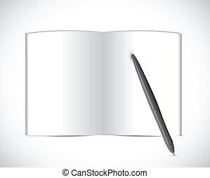 pen., livro, desenho, ilustração