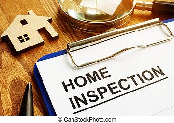 pen., maison, formulaire, inspection, presse-papiers