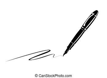 Pen - monochrome illustration of an old fountain pen