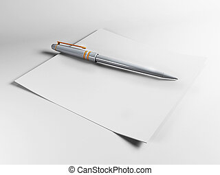 Blank blueprint roll of paper on a white background stock pen on a blank sheet of paper malvernweather Choice Image