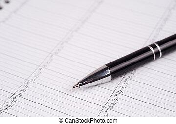 Pen on a calendar page