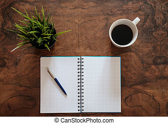 pen on a copy book isolated on wooden background