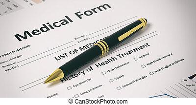Pen on a medical form. 3d illustration