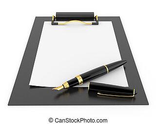 Pen on clipboard. Empty sheet of paper. 3d