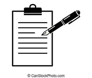 pen on paper folder, simple black vector icon, registeror ...