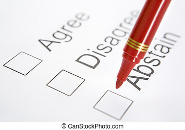 Pen on top 'Abstain' checkbox - Red pen is about to choose '...