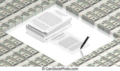pen, op, de, contracteren, papieren