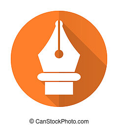 pen orange flat icon