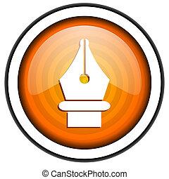 pen orange glossy icon isolated on white background