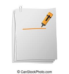 pen, papier, bladen, highlighter