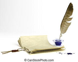 pen, papier, oud, slagpen