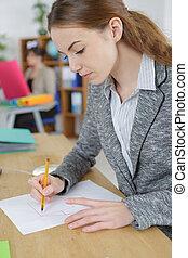 pen, papier, tekening, vrouwlijk, creatief