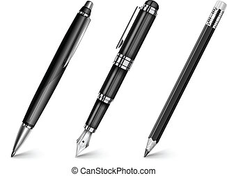 Black pen, pencil, fountain pen isolated on white, vector illustration