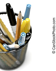 Pen Pencil Holder Cup for Desk Organizing - Detail closeup...