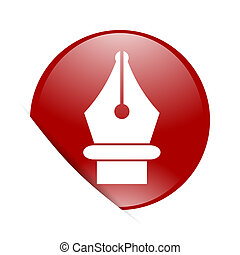 pen red circle glossy web icon