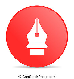 pen red circle web glossy icon