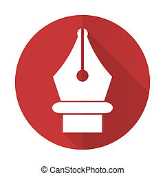 pen red flat icon