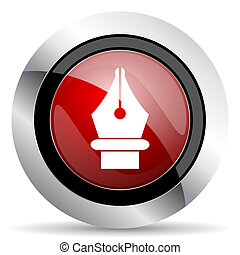 pen red glossy web icon