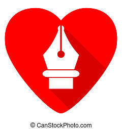 pen red heart valentine flat icon
