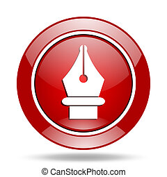 pen red web glossy round icon
