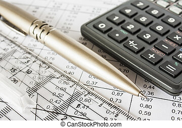 pen, rekeningen, rekenmachine
