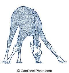 pen, schets, van, een, giraffe