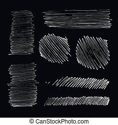pen, set, grunge, slag, inkt