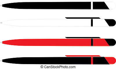 Pen side fase - The black and red, black and white pen. side...