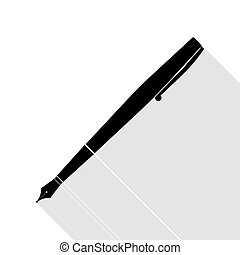 Pen sign illustration. Black icon with flat style shadow path.
