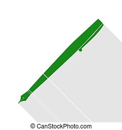 Pen sign illustration. Green icon with flat style shadow path.