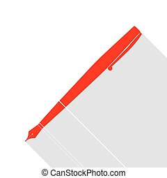 Pen sign illustration. Red icon with flat style shadow path.