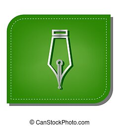Pen sign illustration. Silver gradient line icon with dark green shadow at ecological patched green leaf. Illustration.