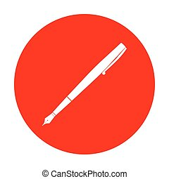 Pen sign illustration. White icon on red circle.