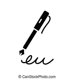 Pen signature black icon, concept illustration, vector flat symbol, glyph sign.