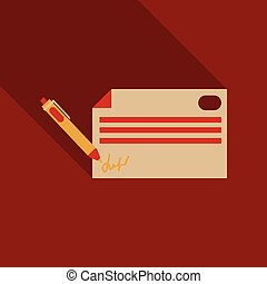 Pen signing a contract with signature line art icon for business apps and websites